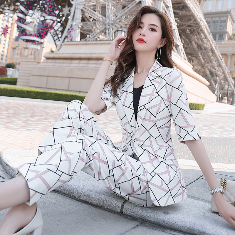 Xn9890 Spring And Summer Traditional Ol Classic Half-sleeve Shirt Business Women Dress Set Pants Sale Formal Wear Work Suit