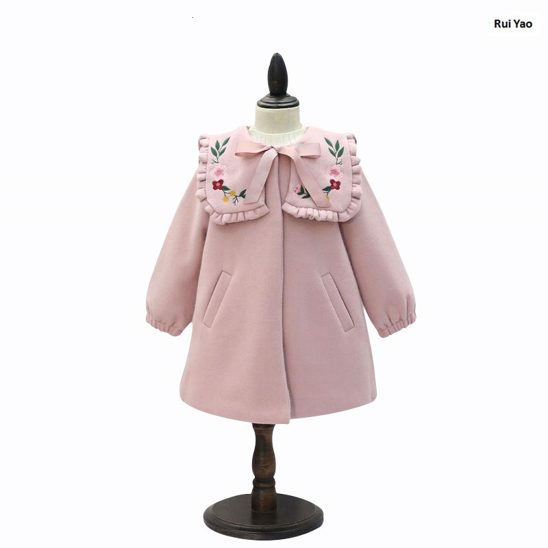 Winter girls coat pink embroidery fashion kids jacket boutiques baby Outerwear beautiful children clothes