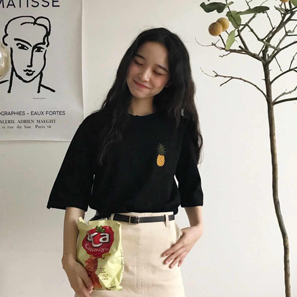 # Z30 2020 新原宿パイナップル刺繍女性 Tシャツカジュアル Tシャツトップス夏半袖女性の tシャツ服