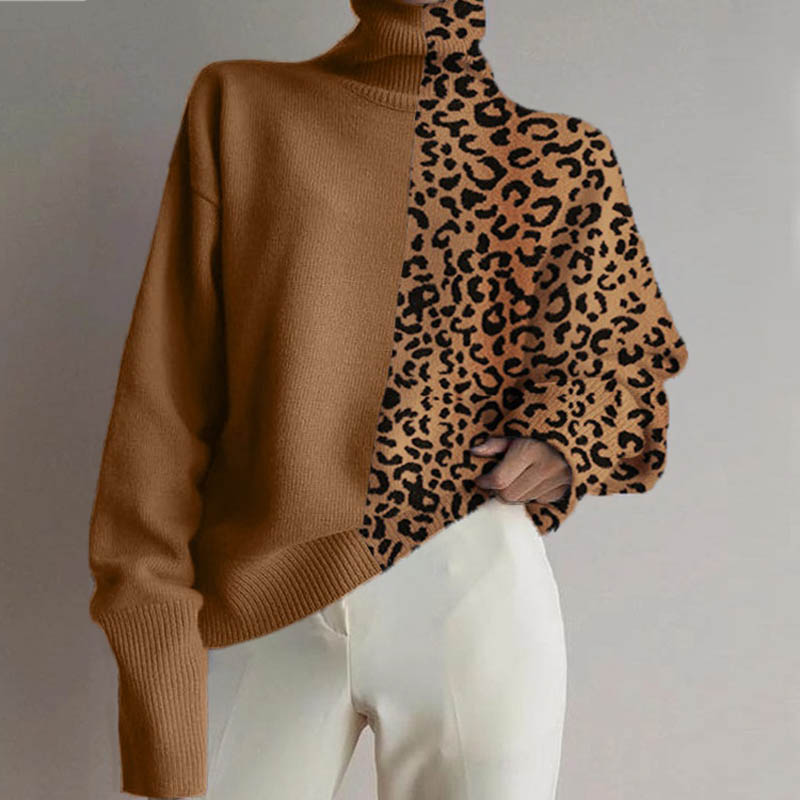 Fashion New Autumn Winter Leopard Color Matching Loose Long Sleeve Sweater Warm Leopard Sweater High Collar Pullovers Sweater