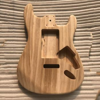 New Wood type electric guitar accessories ST electric guitar barrel material maple guitar barrel body top quality gyhl 0009 headless blue color ash wood body with f hole quilted maple veneer cover active pickup electric guitar