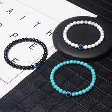 Fashion 6mm Natural Stone Beads Evil Eye Bracelet Handamde Hematite Turkish Evil Eye Bracelet for Women Men Yoga Reiki Jewelry