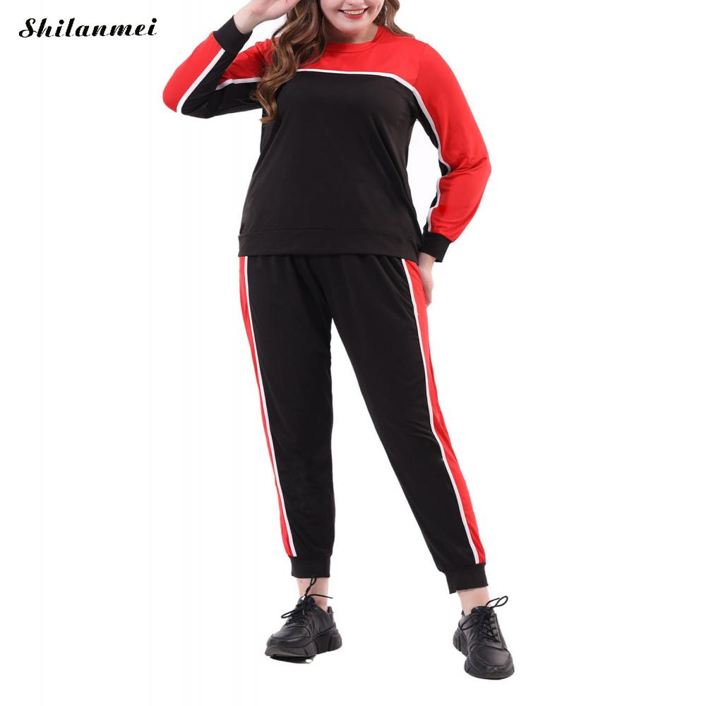 Plus Size Autumn Two Pieces Set Long Sleeve Top And Long Pants Tracksuit Women Black Red Patchwork 2 Piece Set Women Outfits