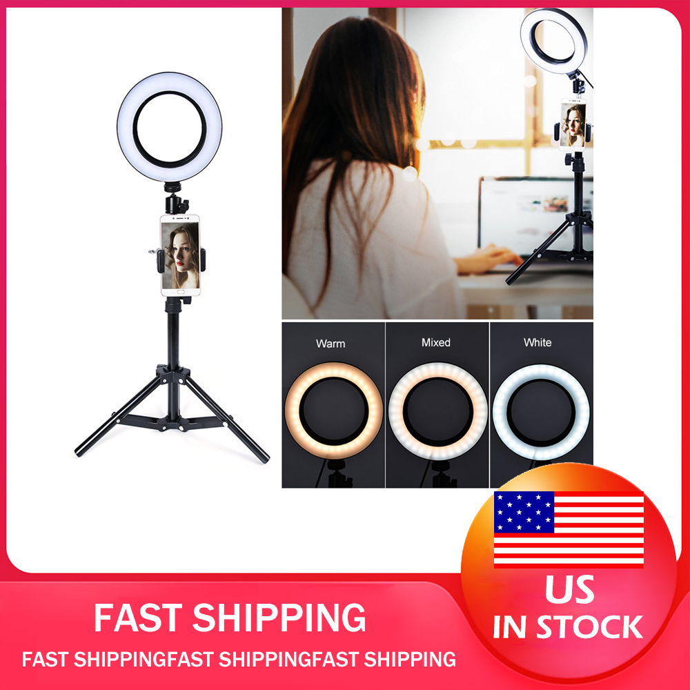 LED Ring Light Stand Selfie Phone Holder Stick Lighting 74 Leds 3 Colors Photo Fill Light Toning Brightness Adjustable Tripod