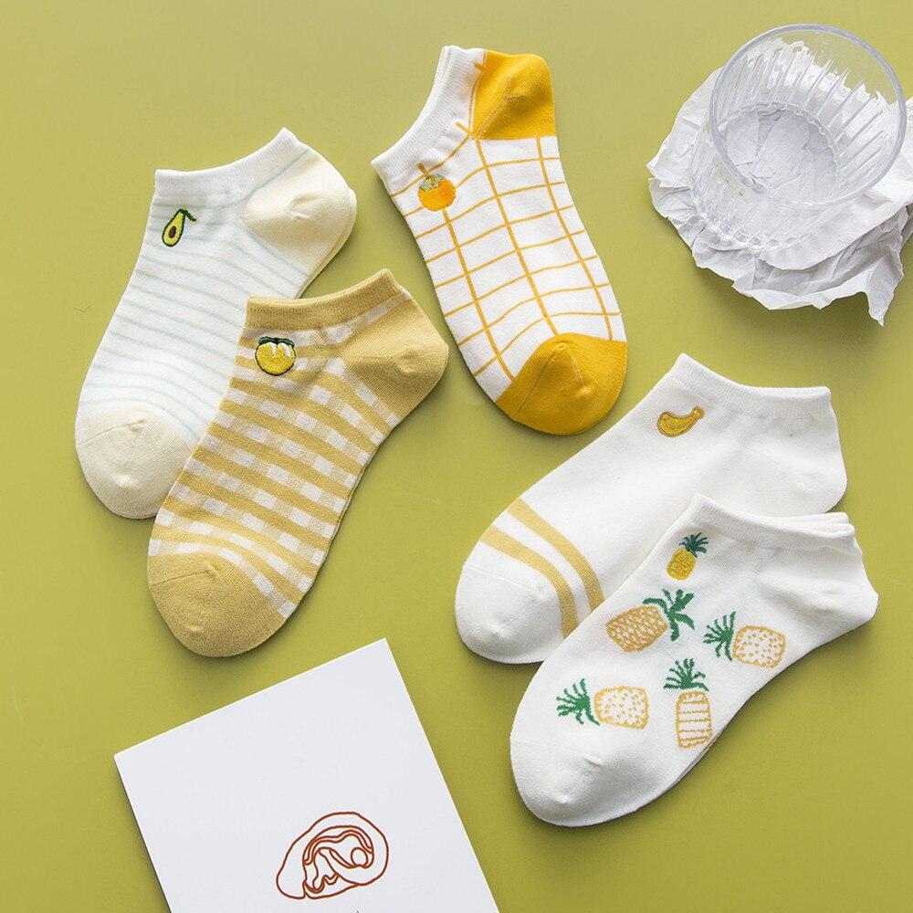 Симпатичные Короткие носки с мультяшными фруктами женские невидимые носки до щиколотки Смешные Женские дизайнерские хлопковые банан и лим...
