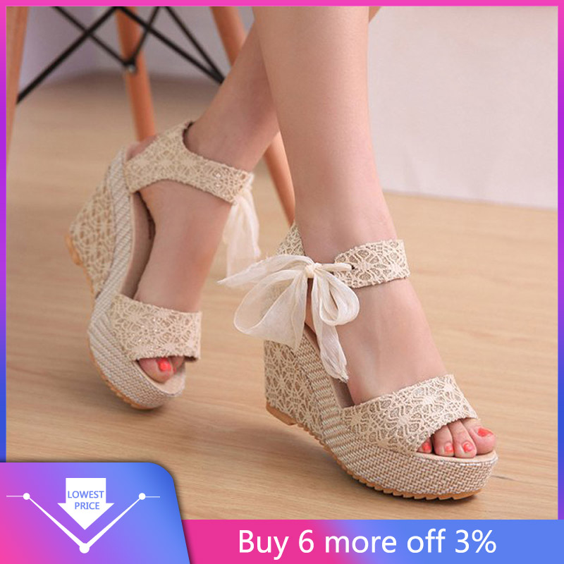 YOUYEDIAN Wedges Sandals Shoes Platform Lace-Up Roman Summer Mujer Slope G4
