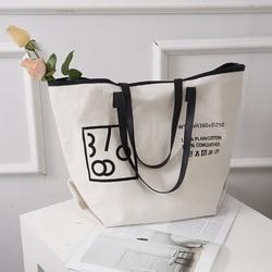 Ansloth Letter Top Handle Bag Brand Women Bags Canvas Shopping Bag Foldable Reusable Bags Large Capactity Composte Bag HPS905