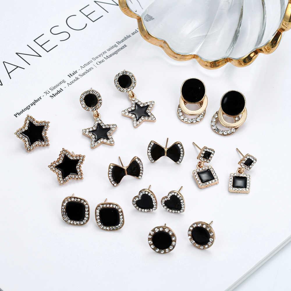 Женские корейские серьги-гвоздики с блестящими кристаллами, изысканные серьги золотого цвета, популярные модные ювелирные изделия, аксессуары, 2020
