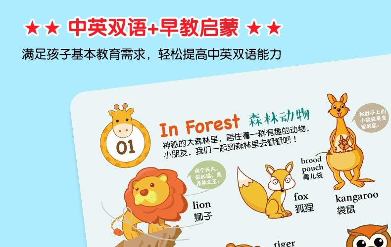 5pcs chinês inglês bilíngue cognição board livros