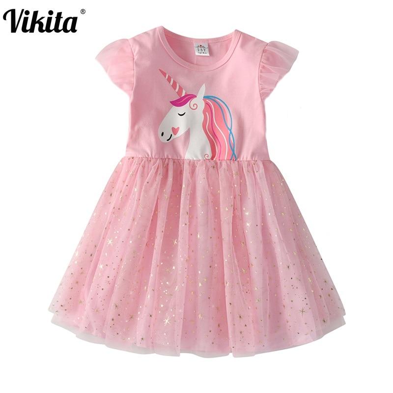 VIKITA Girls Unicorn Tutu Dress Kids Dresses For Party Wedding Toddlers Kids Summer Dresses For Girls Children Princess Dress