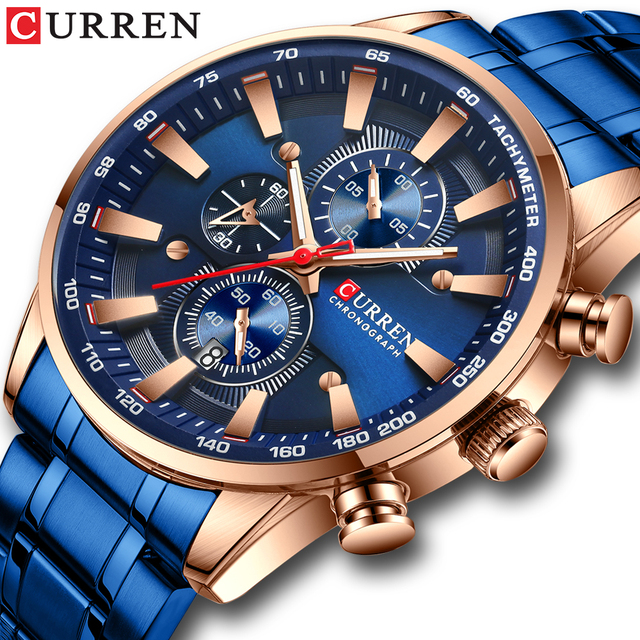 Nieuwe Chronograaf Quartz Horloge Curren Rvs Datum Horloge Klok Mannelijke Lichtgevende Horloges Relogio Masculino