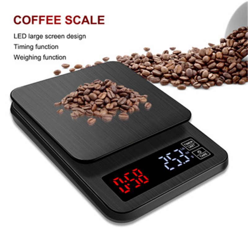 LED Digital Coffee Electronic Scale With Timing USB Power Socket Kitchen Scale 3kg/0.1g, 5kg/0.1g 10kg/1g Household Pocket Scale