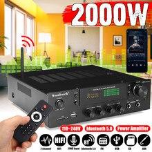 Sunbuck 2000w bluetooth estéreo amplificador de alta fidelidade 2.0 áudio potência controle remoto fone de ouvido jack usb sd AV-80