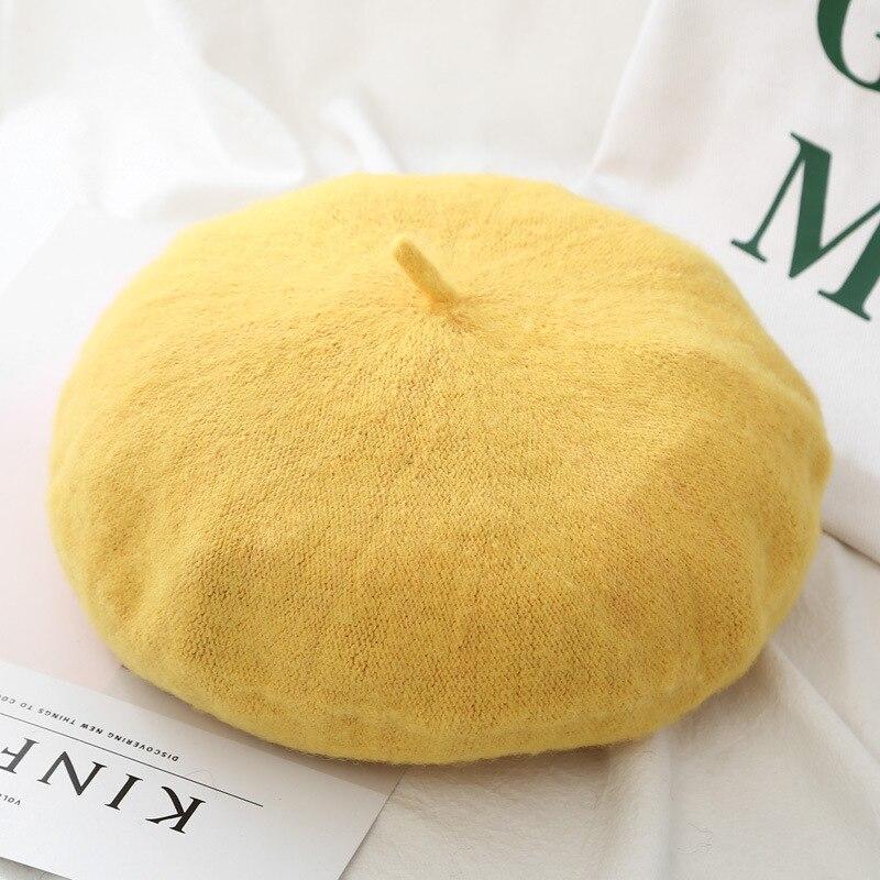 Шерстяные женские Зимние береты, роскошные бархатные винтажные кашемировые женские теплые модные береты, шапки для девушек, плоская кепка, берет для женщин - Цвет: Style 2 Yellow