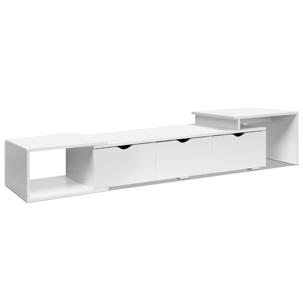 Artiss longueur Lowline TV meuble de divertissement blanc moderne meuble TV meuble bas avec trois tiroirs gigognes A2