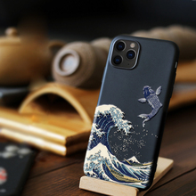 Phone Cases For iPhone 7 8 6S Plus X XR Case Funda iPhone 11 Pro XS Max Coque 3D Emboss The Big Wave of kanagawa Soft Back Cover