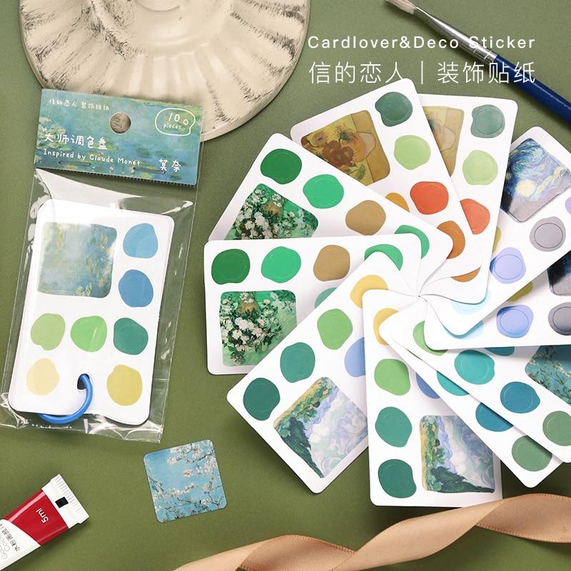 Master Palette Decorative Stickers Scrapbooking Van Gogh Dot Sticker Flakes Stationary Album Office Accessories Art Supplies