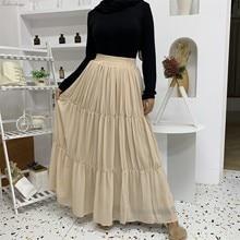 Muslim Skirt Clothing Abaya Fashion for Jupe Musulman Pleated Women