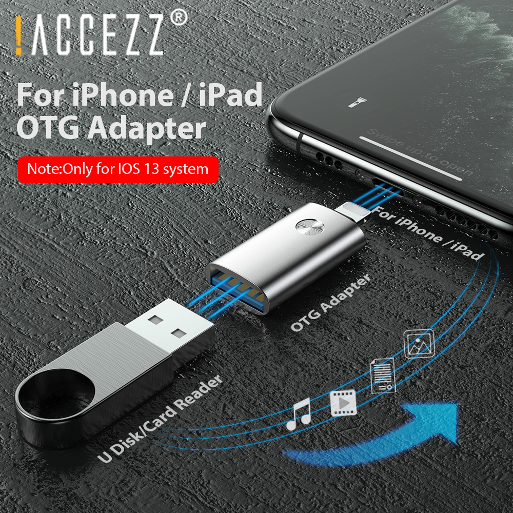 !ACCEZZ OTG Adapter for Lighting to USB For <font><b>iPhone</b></font> 7 <font><b>8</b></font> Plus X 11 Pro Max Converter iOS 13 Connect Camera Charger Cable <font><b>Connector</b></font> image