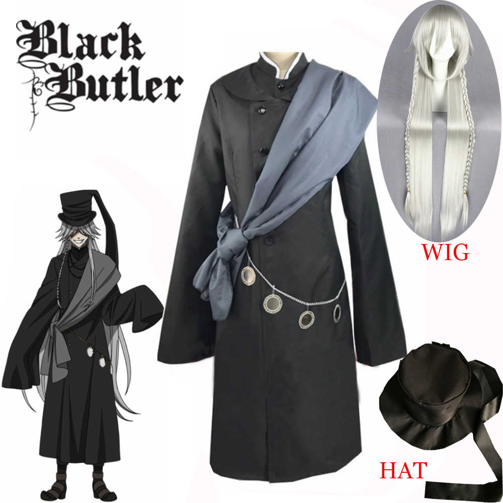 Hot Koop Black Butler Kuroshitsuji Undertaker Cosplay Kostuum Halloween Party Kostuums Custom Made Volledige Set Hoed Keten En Pruik
