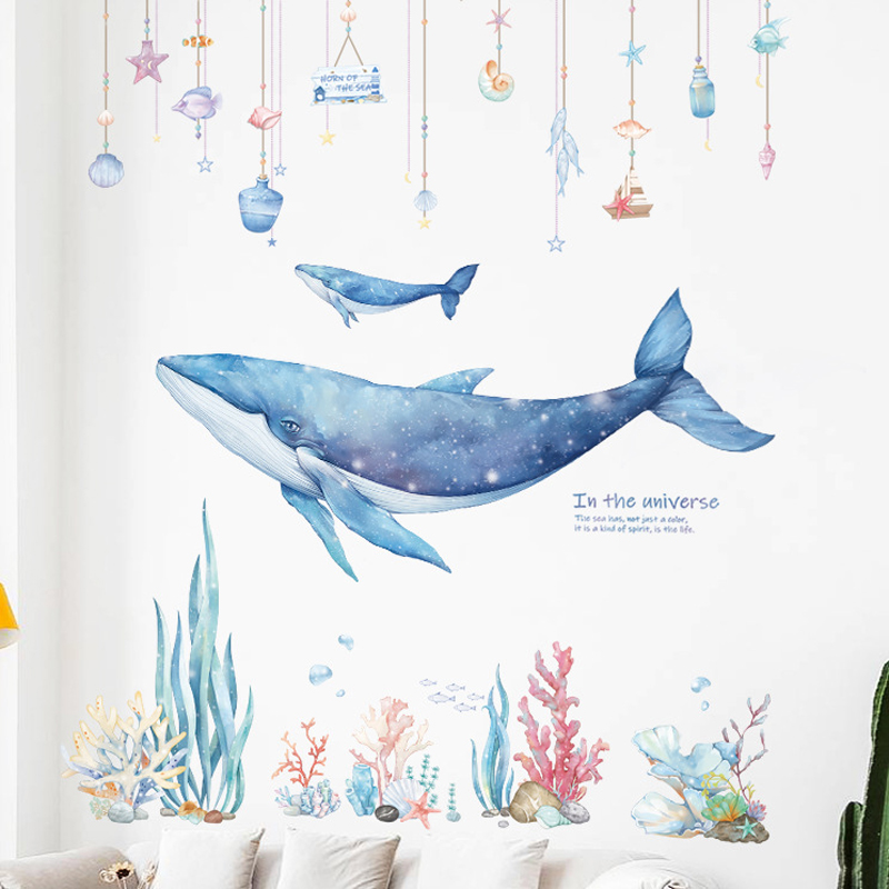 Underwater World Whale Coral Wall Stickers For Kids Rooms Bathroom Home Decor Water Color Wallpapers Stickers Decor DIY Kid Home