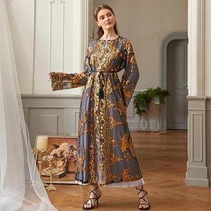 Open Abaya Dubai Golden Mesh Sequnis Embroidery Kimono Muslim Abaya Eid Mubarak Moroccan Turkey Kaftan Islamic Clothing lace