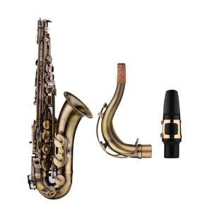 Image 4 - Muslady Antique Finish Bb Tenor Saxophone Sax Brass Body White Shell Keys Woodwind Instrument with Carry Case Sax Neck Straps