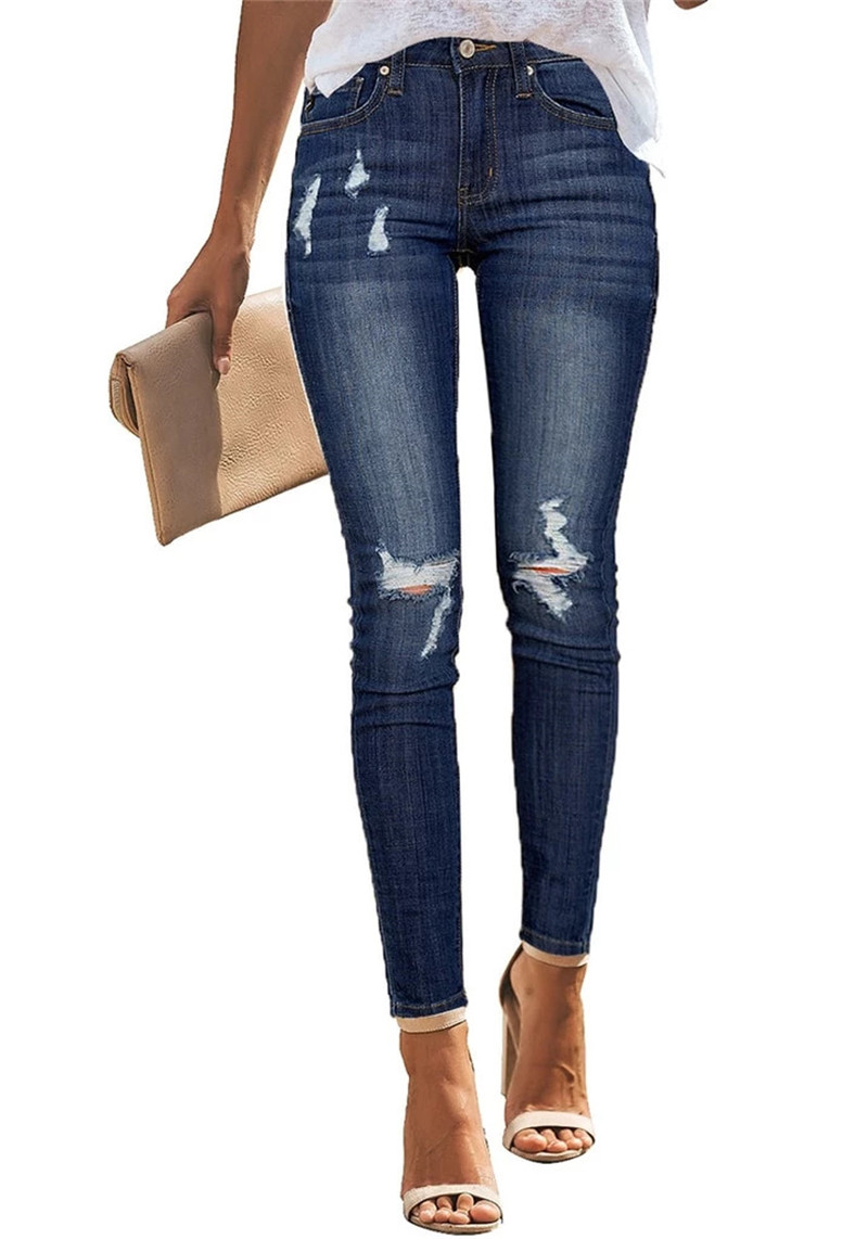 2020 High Waist Jeans For Women Slim Stretch Ripped Distressed Denim Jean Bodycon Tassel Skinny Push Up Jeans Trousers Woman
