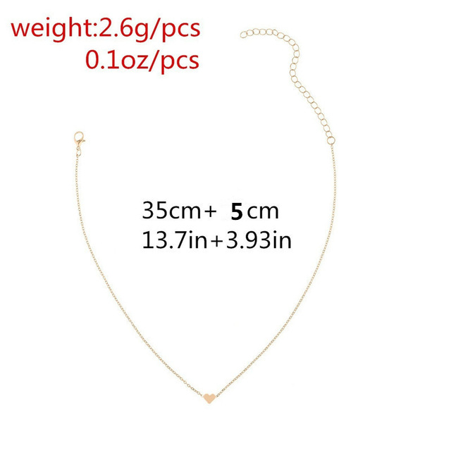 Simple Trendy Heart Clavicle Pendant Necklace For Women Female Elegant Gold Chain Necklaces Ladies Heart-Shaped Jewelry Gifts Accessories Jewellery & Watches Women's Fashion