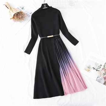 2020 Spring Autumn New Women's Big Size Knitted Dress Temperament Slim Long Stitching Gradient Female Pleated Sweater Dress 1
