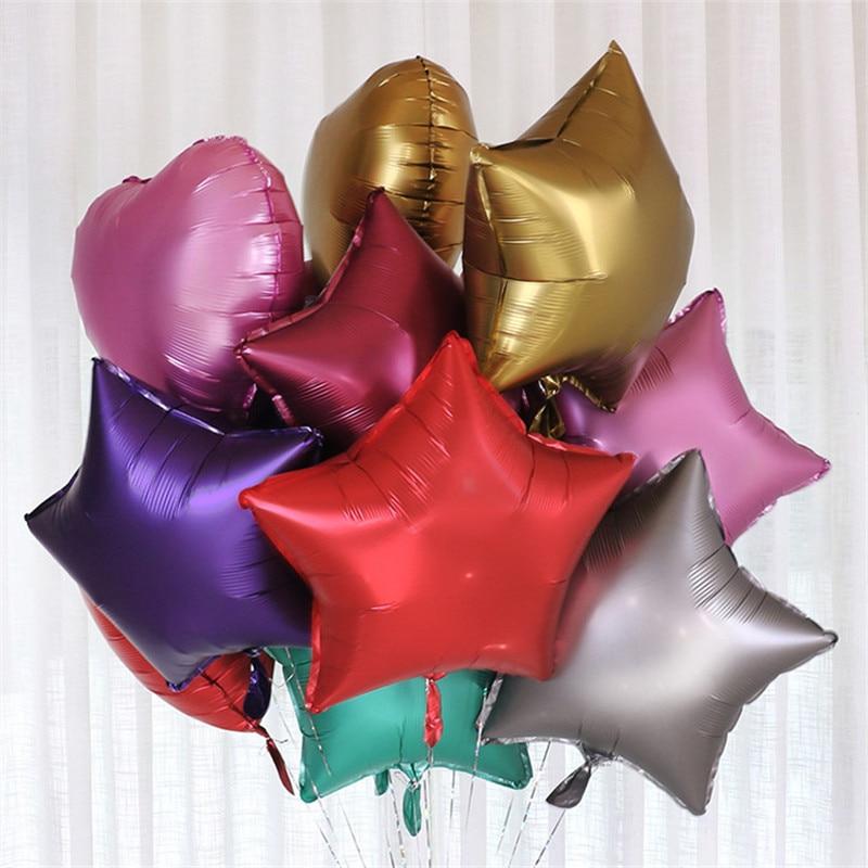 5 шт 18 дюймов звезда розового золота Сердце Металлические шарики Свадебные украшения металлические фольгированные шары День рождения гели...