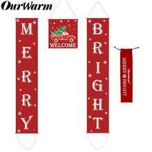 OurWarm 4pcs/set Christmas Porch Sign Decorative Door Banner Merry Bright for Home Garden Party Decoration