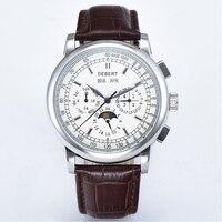 Debert42mm relógios mecânicos branco dial 316lss caso lua fase calendário & semana & mês & ano 24 horas mecanicalwatch masculino automático