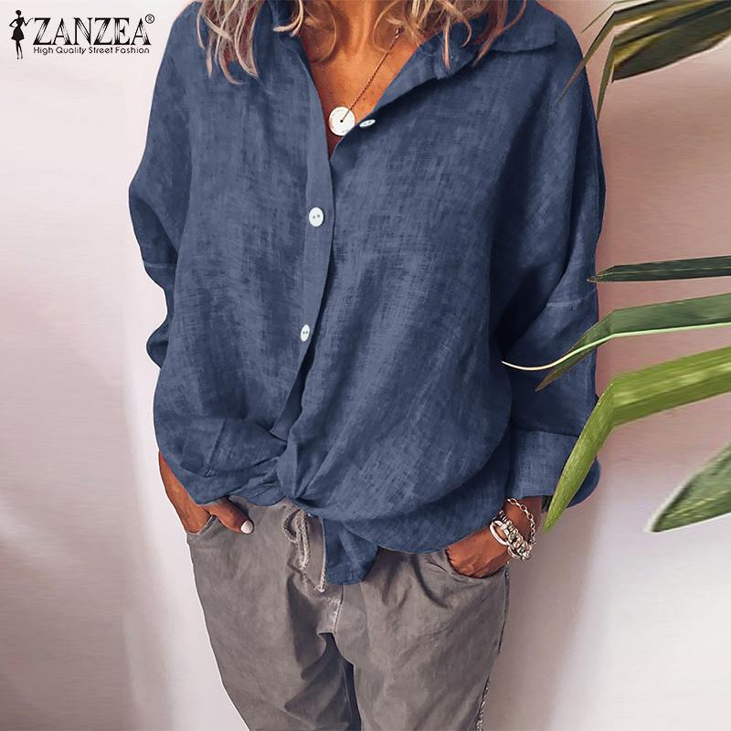 ZANZEA Plus Size Women's Blouse Shirt Casual Solid Lapel Tops Ladies Buttons Loose Shirt Work Office Tunic Blusas Chemiser Mujer