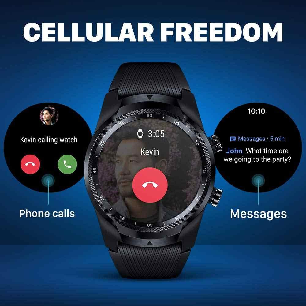 TicWatch Pro 4G/LTE EU Version 1GB RAM Schlaf Tracking Schwimmen-Bereit IP68 NFC Zahlen LTE für Vodaphone in DE/ES/UK & Movistar in Spanien