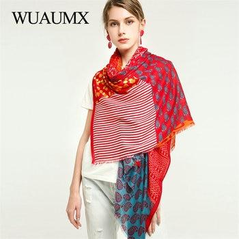 Wuaumx 2019 Autumn Winter Scarf For Women Patchwork Pattern Scarves Fashion Ladies sjaal Cotton Viscose Shawl Muffler Large Size недорого