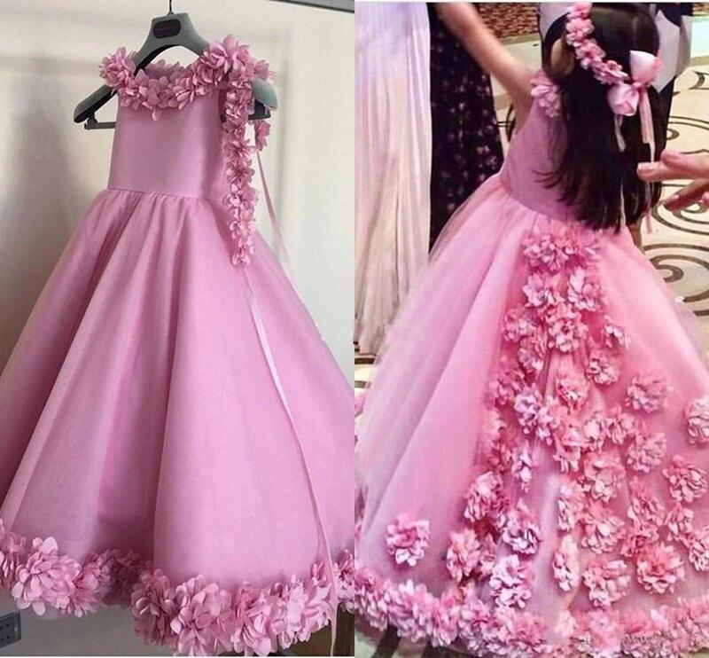 Glitz   Flower     Girl     Dress   with 3D Floral Appliques Ankle Length Formal Wears Custom Made Vestidos De Fiesta New Arrivals Longo