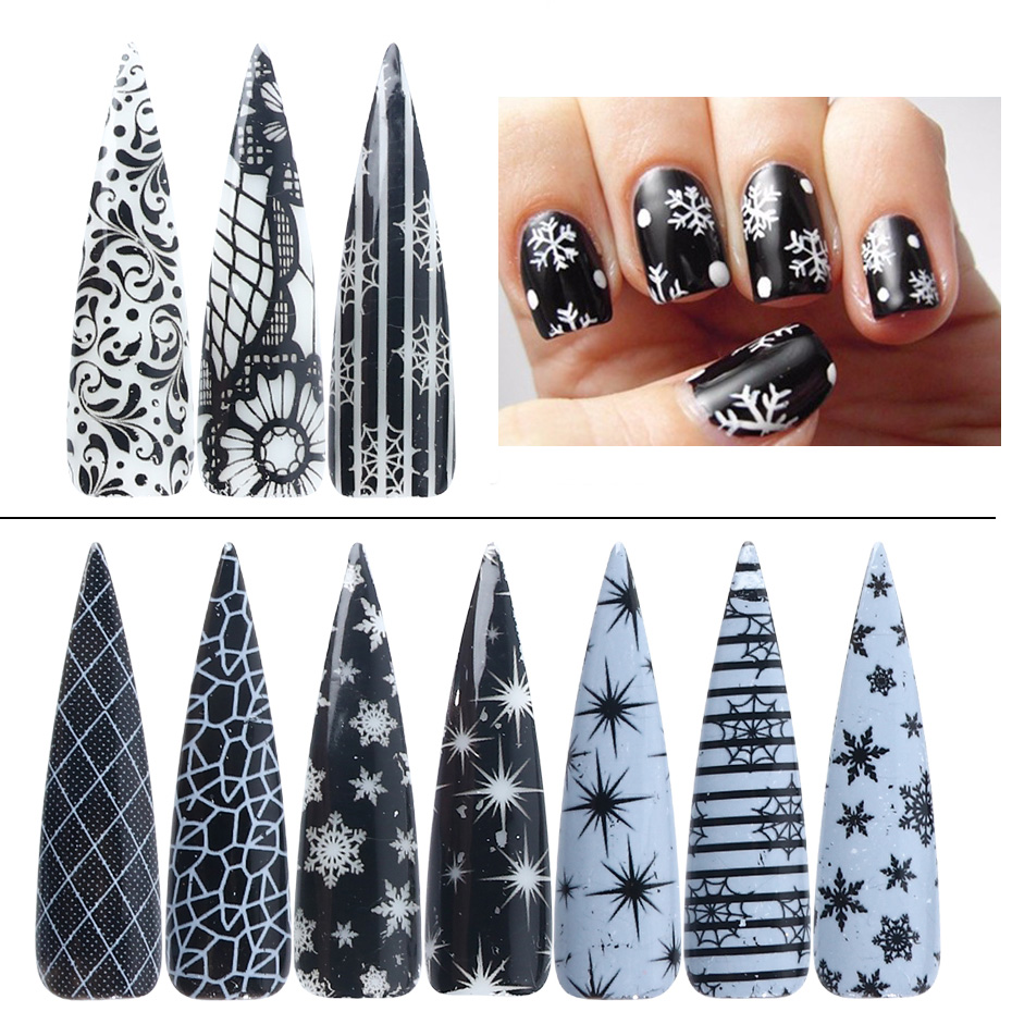 Image 2 - 10 Roll Black White Lace Nail Foil Christmas Snow Star Flowers Nail Sticker Flakes UV Gel Polish Transfer Xmas Decal JIXKH40 59-in Stickers & Decals from Beauty & Health