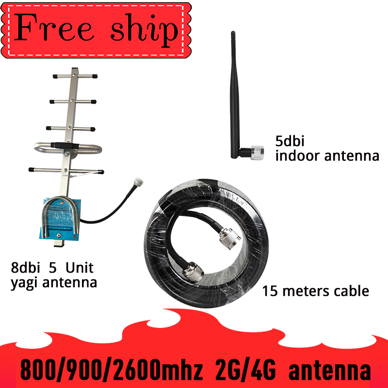 Outside Yagi Antenna  800mhz 900mhz 2600mhz CDMA UMTS GSM 8dBi Gain For Cell Phone Booster Repeater 700~2700mhz  Whip Antenna