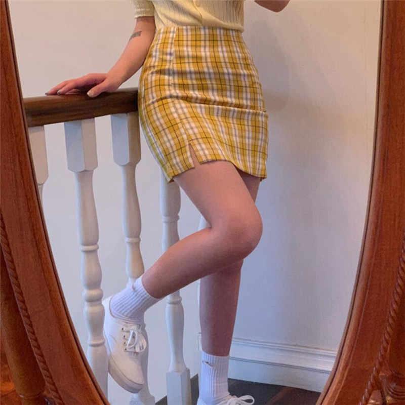 韓国色の格子縞のスカートの女性 2020 学生シックなショートスカートファッションセクシーなミニスカート春夏女性のスカート