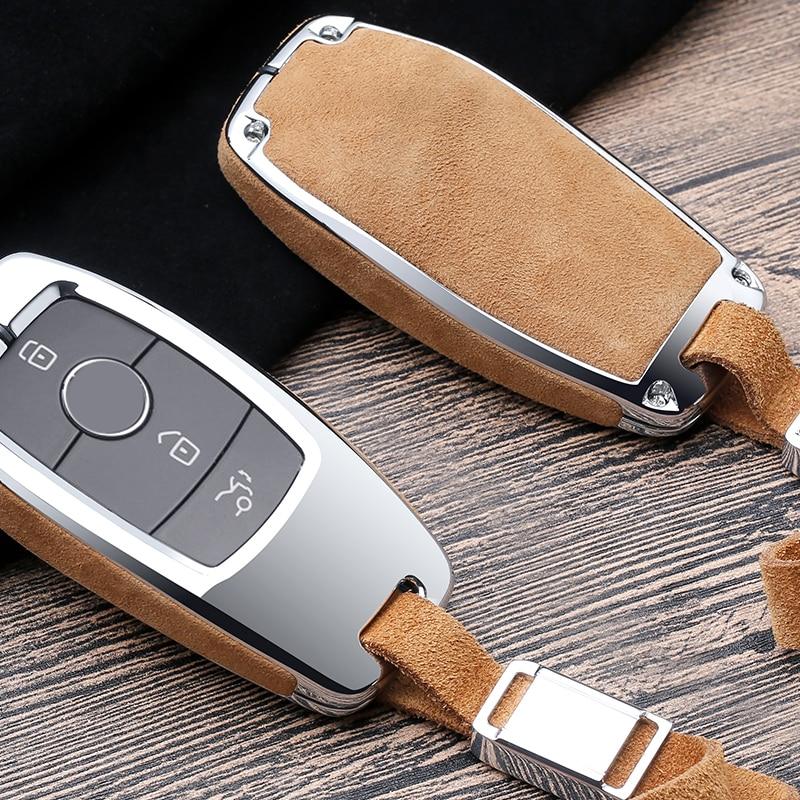 Faux Flip fur Car Key Case Cover For Mercedes Benz W202 W210 W211 W204 W212 E Class 2018 Accessories Keychain Holder Keyring