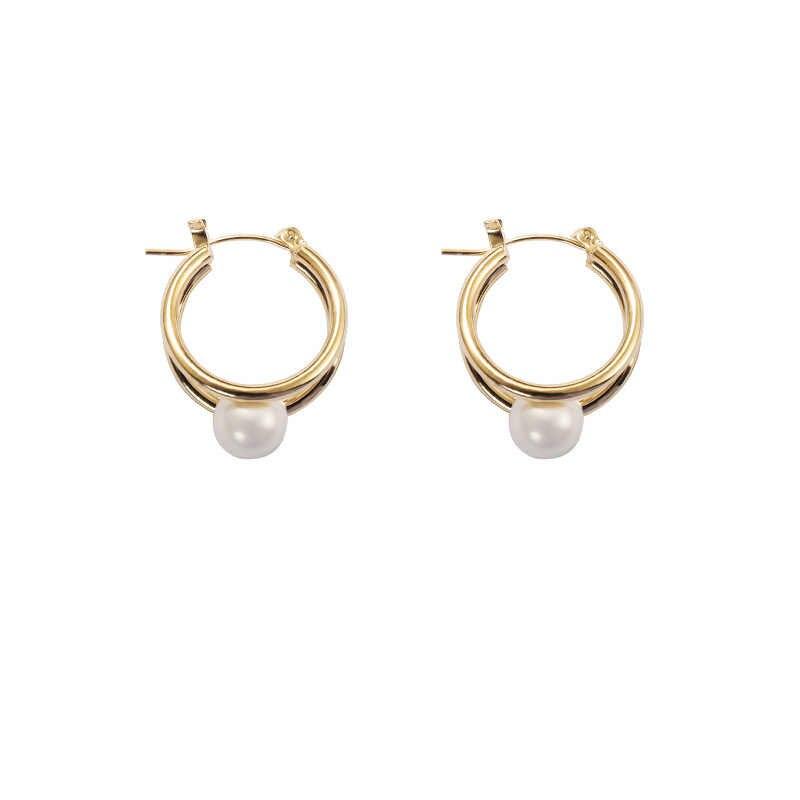 แฟชั่นอินเทรนด์โลหะ Elegant Pearl Hoop ต่างหูผู้หญิง 2020 GOLD Color Statement ขนาดเล็กต่างหูอุปกรณ์เสริมเครื่องประดับ Brincos