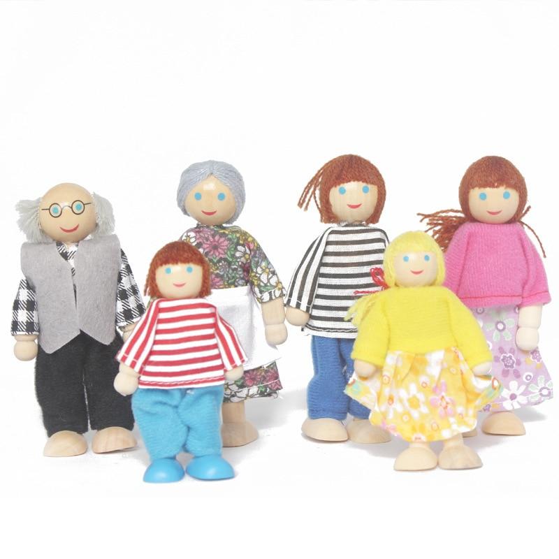 7 Uds. Muebles de madera casa de muñecas familia persona figuras miniatura juego de muñecas juguetes de simulación de juego casa de muñecas para niños juguete de juego