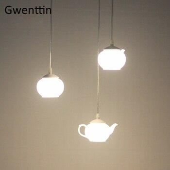цена Teapot Pendant Lights Modern Led Hanging Lamps for Dining Room Kitchen Bedroom Lighting Fixtures Nordic Industrial  Home Decor онлайн в 2017 году