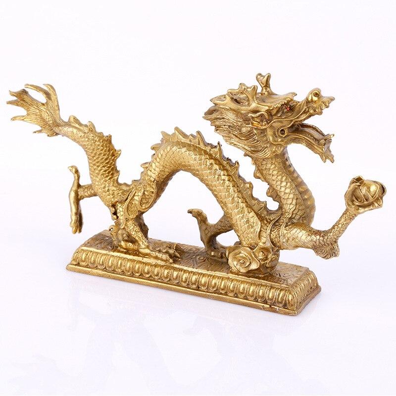 Twelve Zodiac Auspicious  Copper Bronze Dragon Pendulum Feng Shui Decorations Home Office Qinglong Good Luck Dragon Decoration