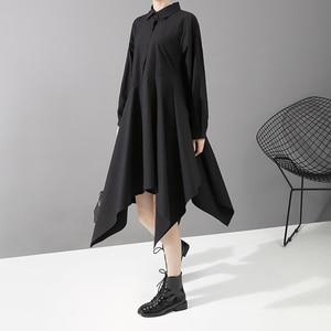 Image 3 - New 2019 Women Long Sleeve Autumn Fashion Shirt Dress Solid Black Asymmetrical Ladies Stylish Casual Dresses Robe Femme 5510