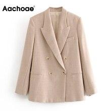 Aachoae Fashion Office Wear Suit Blazer Women Solid Color Do