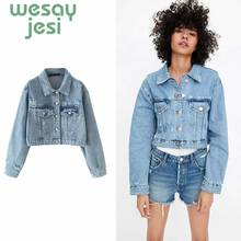 Women Denim Jacket Boyfriend Jean Coat Streetwear Harajuku Vintage Autumn Basic Outerwear Feminine