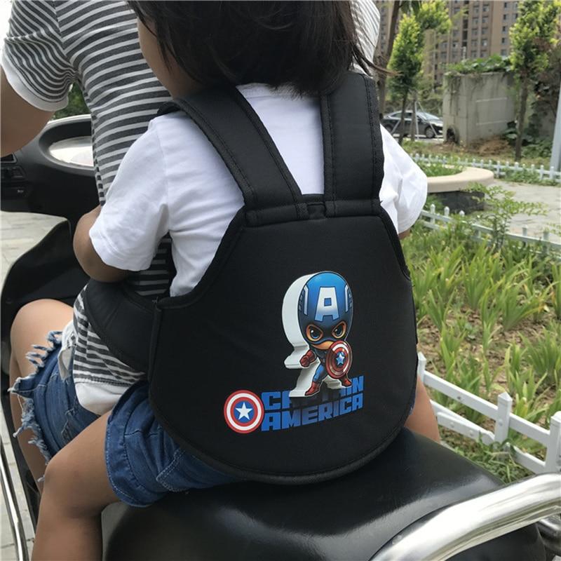 Kids Motorcycle Bicycle Safety Belt Adjustable Electric Vehicle Safe Strap Carrier For Child Safety Frozen Elsa Captain America
