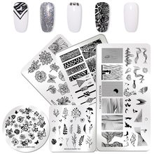 NICOLE DIARY Geometric Nail Stamping Plates Floral Nail Art Design Stamping Template Nail Stamp for Nails Stencils Stamper